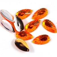Faceted Tear Drop Acrylic Sew on Beads Orange Jewellery and Craft Supplies 2.2 cm x 1.1cm - lots of 20 - Bunting and Scrapbooking