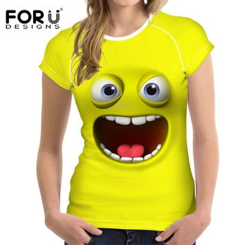 FORUDESIGNS 2018 New Women Yellow T-Shirt Cute Emoji Clothes Tops for Female Tee Shirt Femme Casual Summer Best Friends T Shirt