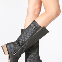 Qupid Black Quilted Zip Up Riding Boots