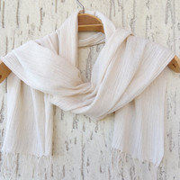 Handwoven infinity scarf,  Ivory Crepe Scarves, Natural,Organic Scarf, Fashion accessories, Women Scarves