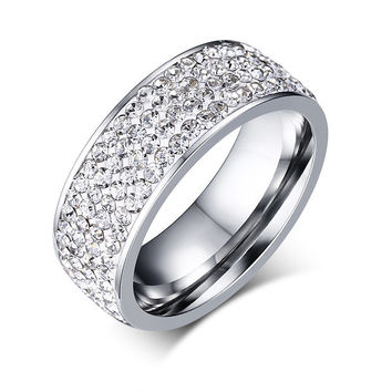 Multicolor crystal ring - stainless steel