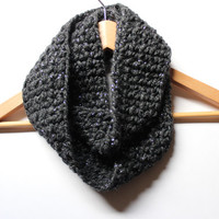 Charcoal Gray Infinity Scarf, Cozy Winter Circle Scarf, Grey Crochet Cowl, Winter Women's Scarf