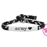 Customizable Military Support Bracelet - Army, Marines, Air Force, Navy, Soldier Wife, Girlfriend, Fiance (women, teen girl)