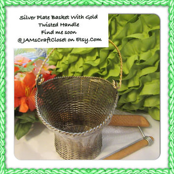 Unique Vintage Small Woven Silver Plate Basket With Gold Handle - Collectible - Home Decor - Basket Collector - Silver Collector - Gift Idea