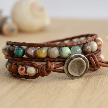 Earthy, natural, hippie style leather wrap bracelet.