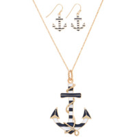 Striped Anchor Necklace W/ Earrings