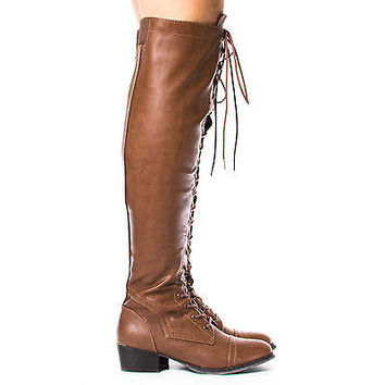 Alabama12 by Breckelle's, Military Combat Thigh High Corset Lace Up Boots