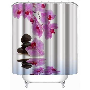 Waterproof Flower Shower Curtain Polyester Fabric Bath Bathing Bathroom Curtains with Hooks for Home