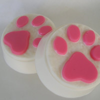 Paw Print Soap - Handmade Glycerin Soap - Vegan friendly - Choose your scent and color