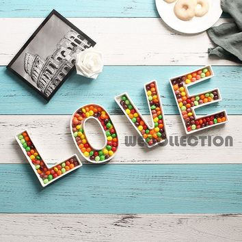 LOVE ceramic candy Letter Dishes for candy table love dessert plate wedding candy bar ideas baby shower wedding decoration