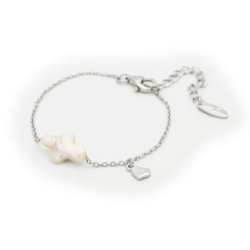 """Bracelet for Kids Sterling Silver Pearl Cross 5'+ 1.5"""" and Heart Charm"""