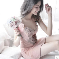 Embroidery Lace Soft Sexy Spaghetti Strap Summer Dress [4918294020]