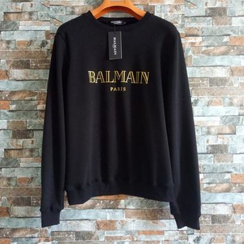 """Balmain"" Unisex Simple Fashion Bronzing Letter Thickened Long Sleeve Sweater Couple Loose Casual Pullover Tops"