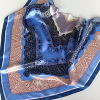 Diva Blue Paisley scarf, Gift for Mother,  Formal head scarf, Blue Chemo scarf, Gift for Coworker,  Office silk scarf,  Gift for Sister