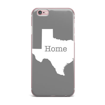 """Bruce Stanfield """"Texas Is Home"""" White Gray iPhone Case"""