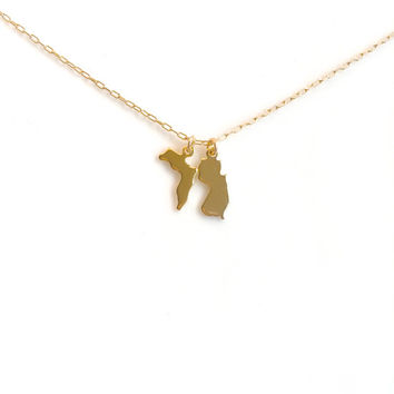 Small Gold State Necklace, Two State Gold  Necklace, Three State Necklace, Arizona State Necklace, California, Texas, Ohio, Utah, Oregon