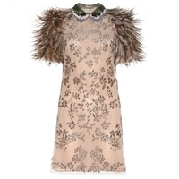 valentino - bead-embellished dress with feathers