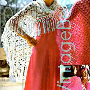 1970s Crochet Pattern -  Shawl  -Hippie Retro lightweight evening day night fun feminine - Direct from France is a French Pattern in English