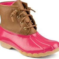 Sperry Top-Sider Saltwater Duck Boot Cognac/Pink, Size 12M  Women's Shoes