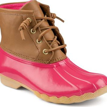 Sperry Top-Sider Saltwater Duck Boot Cognac/Pink, Size 8M  Women's Shoes