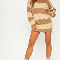 Cream Striped Oversized Jumper Dress