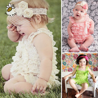 Lace Ruffle Baby Clothes Straps Ribbon Bow Baby Rompers Colorful Baby Costume Toddler Girls Fashion Romper