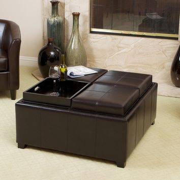 Christopher Knight Home Mason Bonded Leather Espresso Tray Top Storage Ottoman | Overstock.com Shopping - The Best Deals on Promotions
