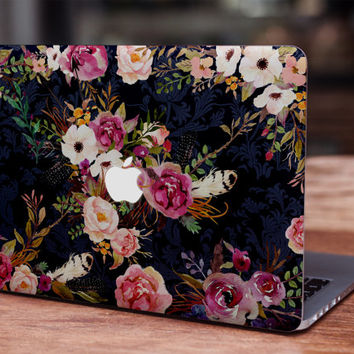 Vintage watercolor flowers MacBook skin decal laptop sticker vinyl decal