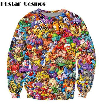 PLstar Cosmos Harajuku style Sweatshirt Cartoon Pokemon print Crewneck Women Men Fashion Sweats Jumper Hoodies plus size S-3XL
