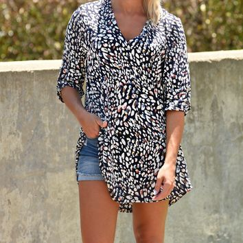 Change The Game Top - Navy Leopard