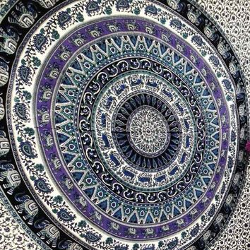 Deer Elephant Purple Tapestry Mandala Wall Hanging Dorm Decor Bohemian Bedspread