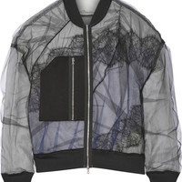 3.1 Phillip Lim - Satin and lace-paneled tulle bomber jacket