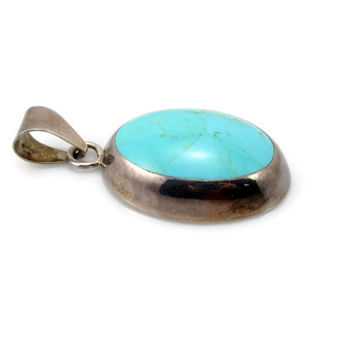 Turquoise Pendant, Sterling Silver, Taxco Mexico, Vintage Jewelry, Large Pendant, Estate Jewelry, Vintage Sterling, Pendant, Turquoise