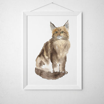 Cat watercolor Maine Coon print Cute nursery art ACW56