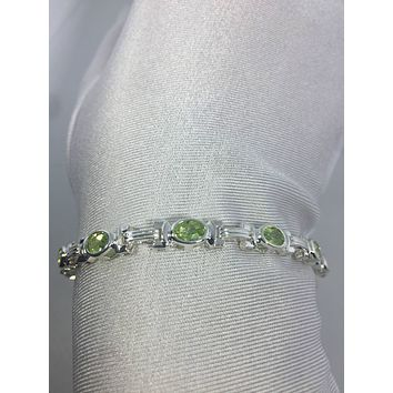 Vintage Handmade Genuine Peridot Rhodium Finished 925 Sterling Silver Tennis Bracelets