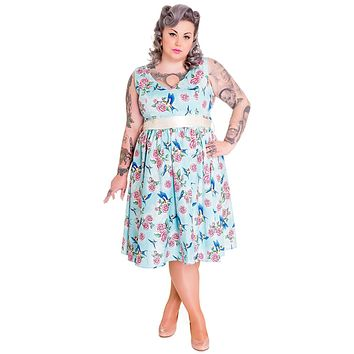 Hell Bunny 50's Retro Vintage Blue Birds and Pink Roses with Bow Party Dress