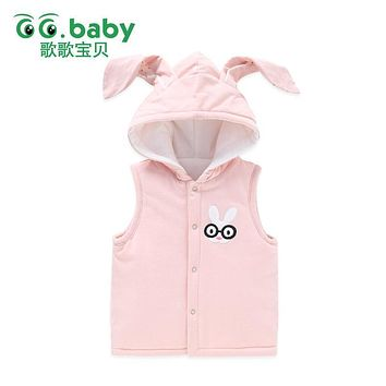Hooded Vest For Newborns Girls Rabbit Warm Baby Boy Winter Sleeveless Solid Waistcoat Outwear Baby Jackets Cotton Infant Vests