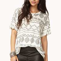 Linen-Blend Abstract Geo Tee