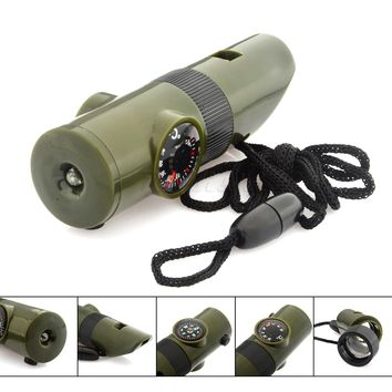 7 in 1 Military Survival Kit Magnifying Glass Whistle Compass Thermometer LED Light