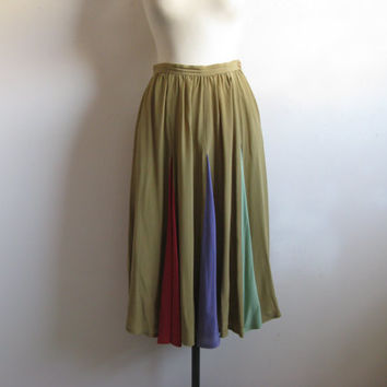 Vintage 80s Silk Skirt 1980s Marc Dalcy Khaki Green Silk Gore Circle Skirt 7