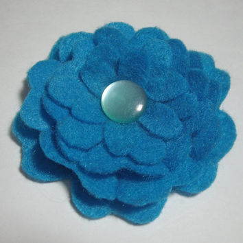 Handmade felt brooch pin Bright Blue flower with button center fabric pin