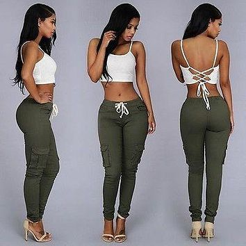 Women Fashion Casual Pencil Pants Jogger Dance Slacks Skinny Stretch Trousers