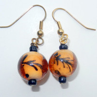 Orange Floral and Black Earrings