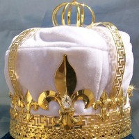 CrownDesigners.com - Imperial State Mens King Rhinestone Gold and White Crown - Store