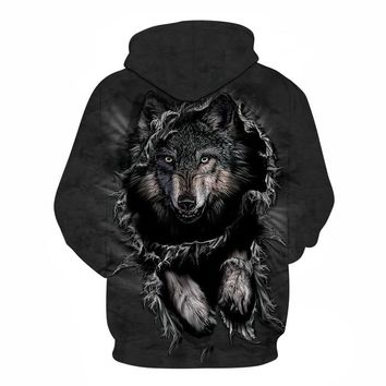 Mountain Wolf Hoodies 3D Men Sweatshirt Hooded Pullover Outwear