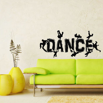 Guys Dancing Break Dance Silhouette Decal Wall Vinyl Decals Stylish Sticker Art Design Murals Interior Decor Dance Studio SV5494