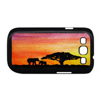Africa sunset elephants Samsung Galaxy S3 case, Samsung Galaxy S3 cover