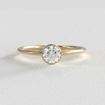 Bezel Diamond Engagement Ring | Vintage Recycled Diamond | 5mm .50 Carat Diamond Center Stone | Recycled 14k Gold Simple Round Band