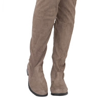 Drawstring Tie Thigh High Boots - Taupe Suede
