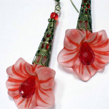Lucite Flower Earrings  Red Vintage Style, Antique Filigree, Mothers Day,Easte, Summer Beach Earrings Handmade